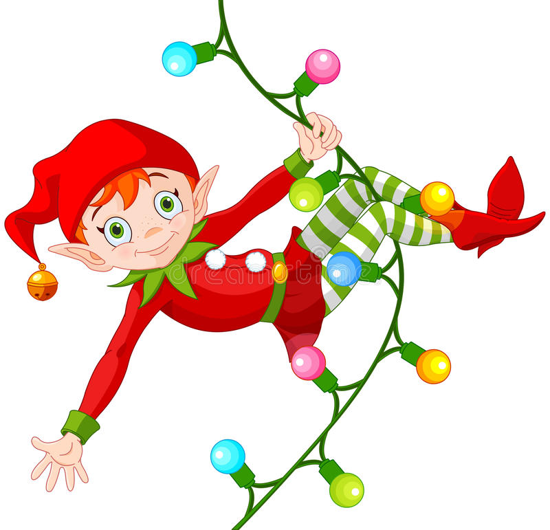 Christmas Elf on Garland. Illustration of cute Christmas elf swinging on a garland royalty free illustration