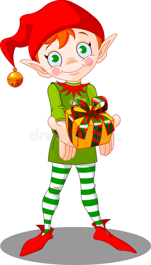 Christmas_elf_gift libre illustration