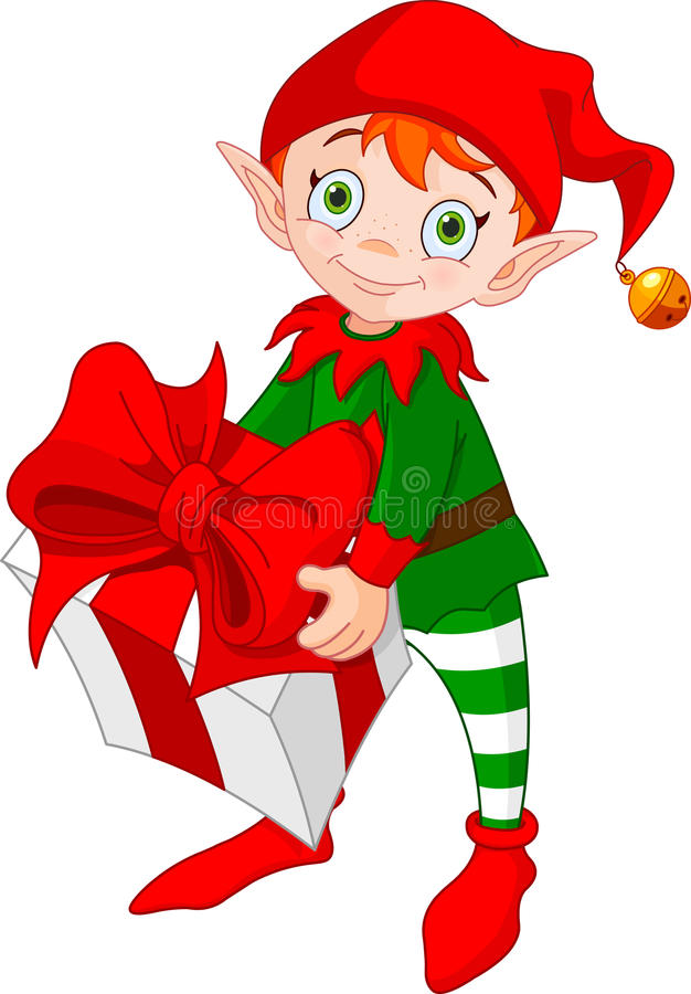 Christmas Elf with Gift. Illustration of red haired Christmas elf standing and carrying a gift royalty free illustration