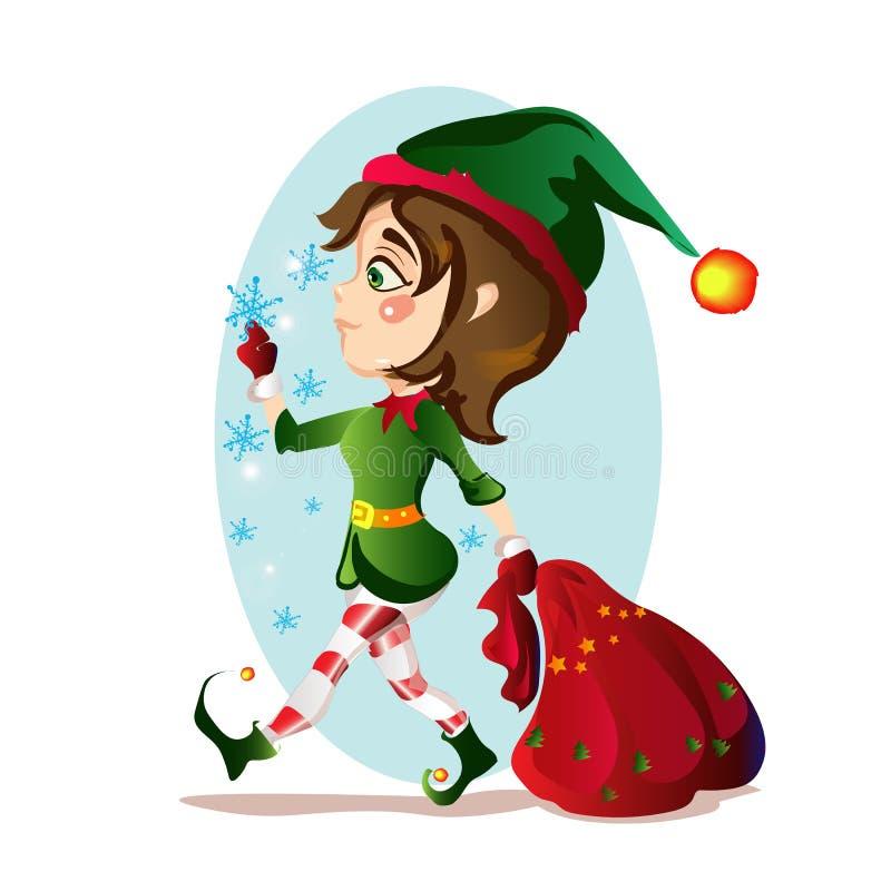 Christmas elf girl bears for a big bag of gifts stock images
