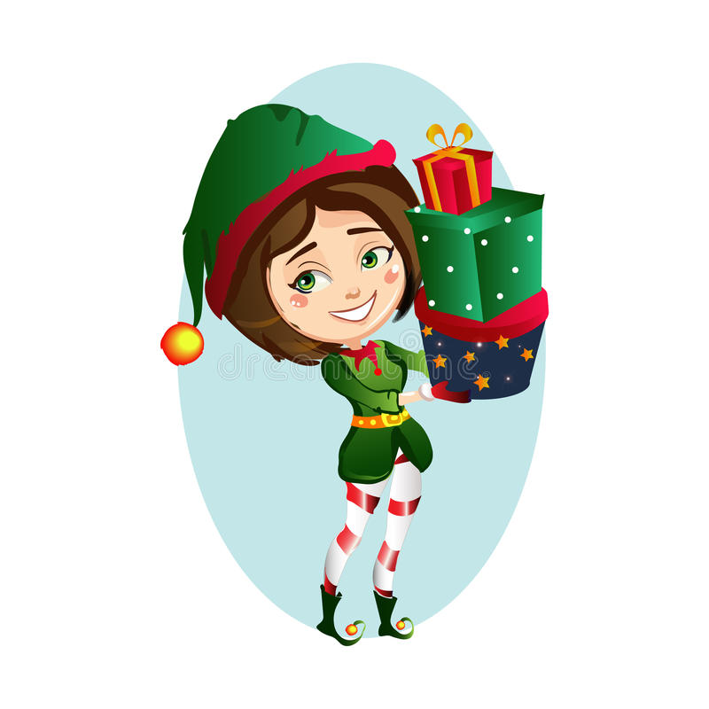 Christmas elf girl bears for a big bag of gifts stock photography
