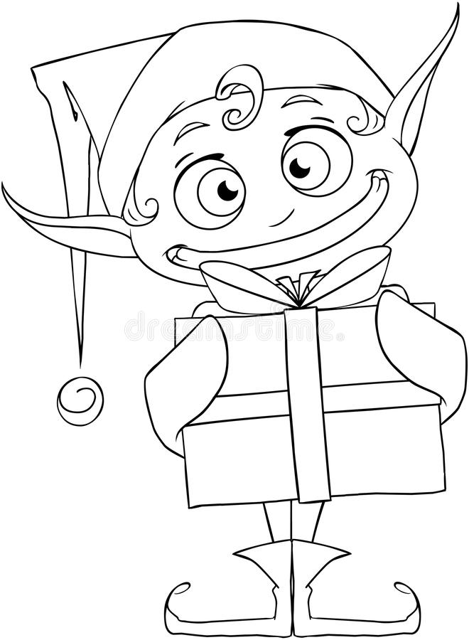 christmas elf holding a present coloring page stock vector santa reindeer coloring pages christmas elf and presents coloring pages