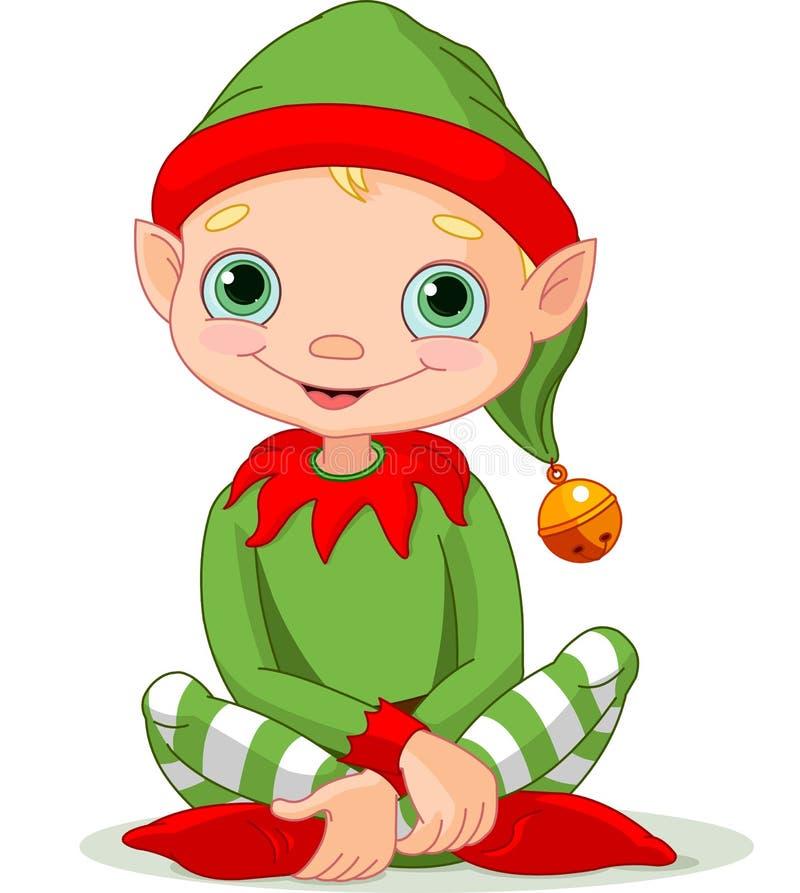 Christmas Elf. Illustration of sitting cute Christmas Elf