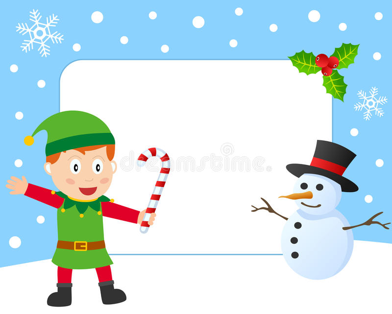 Christmas Elf Photo Frame. Photo frame, post card or page for your scrapbook. Subject: a Christmas elf and a snowman. Eps file available stock illustration