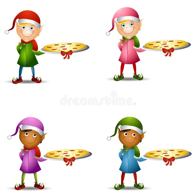 Christmas Elf Pizza Platter. An illustration featuring your choice of Christmas elf holding a pizza topped with a bow! Yummy vector illustration
