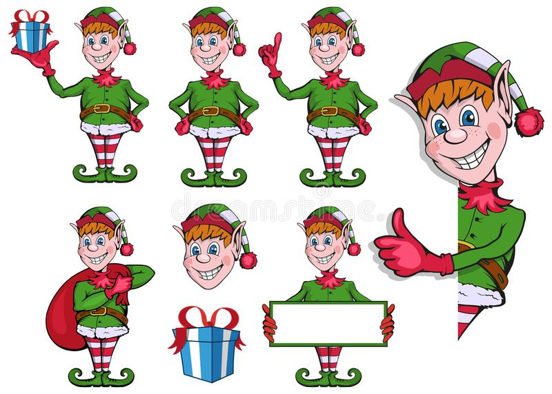 Christmas elf. Set of different elves for christmas. Different new year characters. Santa Claus helpers. New Year characters vector illustration