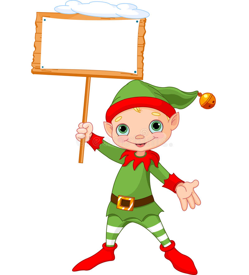 Christmas Elf with sign. Cute Christmas Elf holding empty wooden sign vector illustration