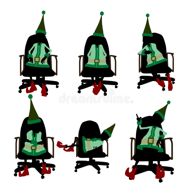 Download Christmas Elf Sitting In A Chair Silhouette Stock Illustration - Illustration of illustration, fairy: 16173300
