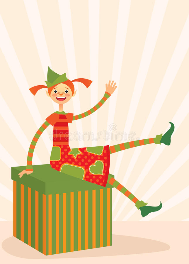 Download Christmas Elf Sitting On A Gift Box Stock Vector - Image: 17122326