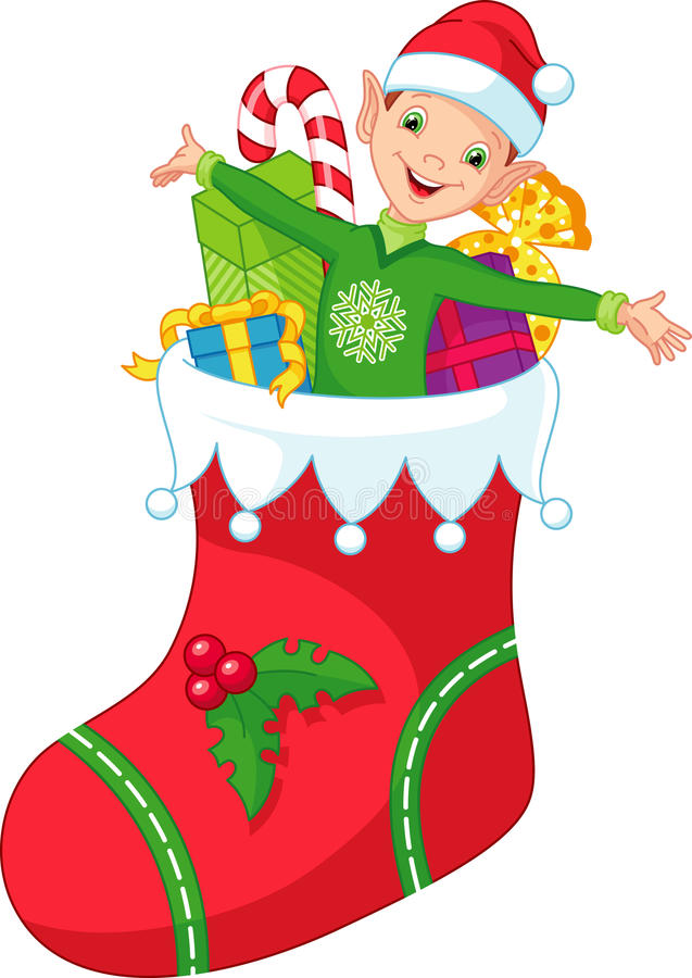 Christmas elf. Elf in a Christmas stocking with gifts royalty free illustration