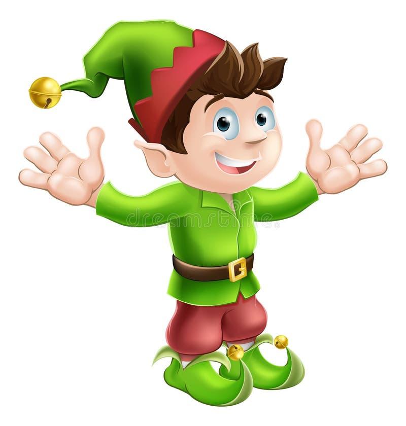 Christmas elf waving stock illustration