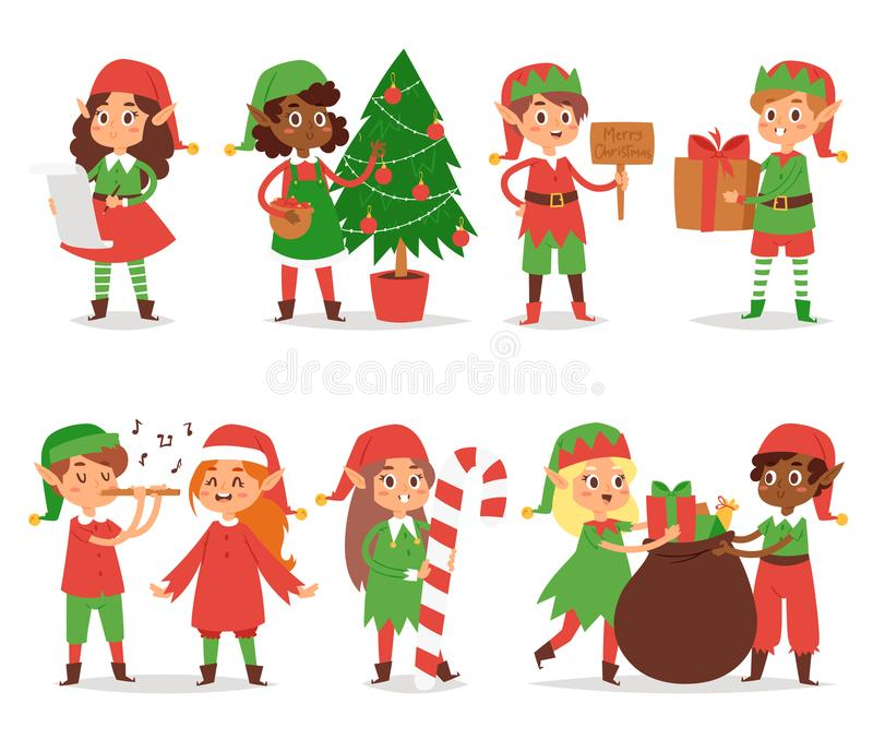Christmas elfs kids vector children Santa Claus helpers cartoon elfish boys and girls young characters traditional stock illustration
