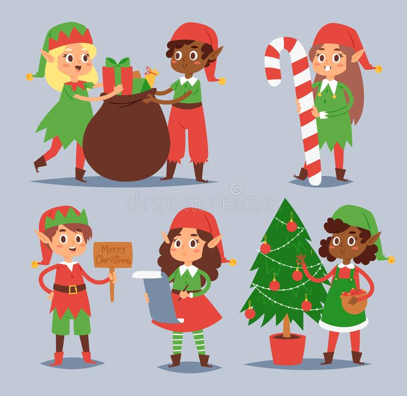 Christmas elfs kids vector children Santa Claus helpers cartoon elfish boys and girls young characters traditional vector illustration