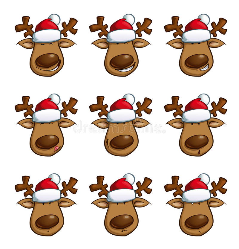 Christmas Elks Expressions Stock Vector