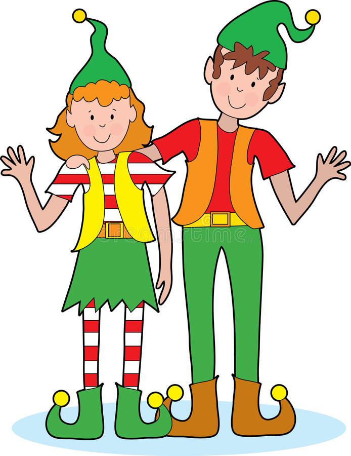 Christmas Elves. A pair of happy Christmas elves waving A pair of happy Christmas elves waving vector illustration