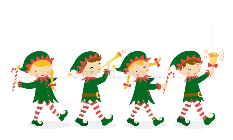 Christmas elves stock illustration