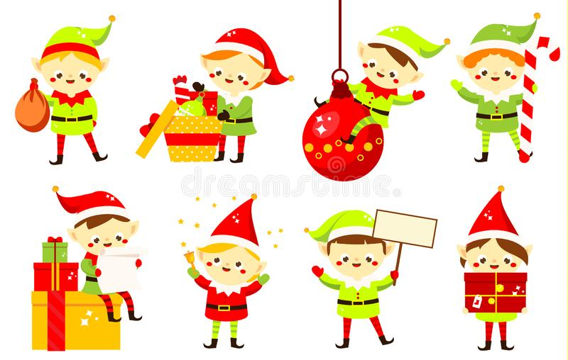 Christmas elves. Collection of cute Santa`s helpers holding gifts. Cartoon characters for new Year greeting design stock illustration