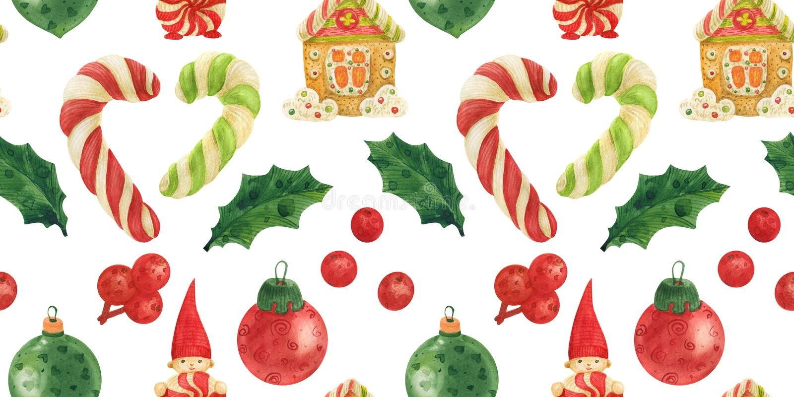 Christmas Elves Factory pattern with candy canes, holly and glass baubles stock illustration