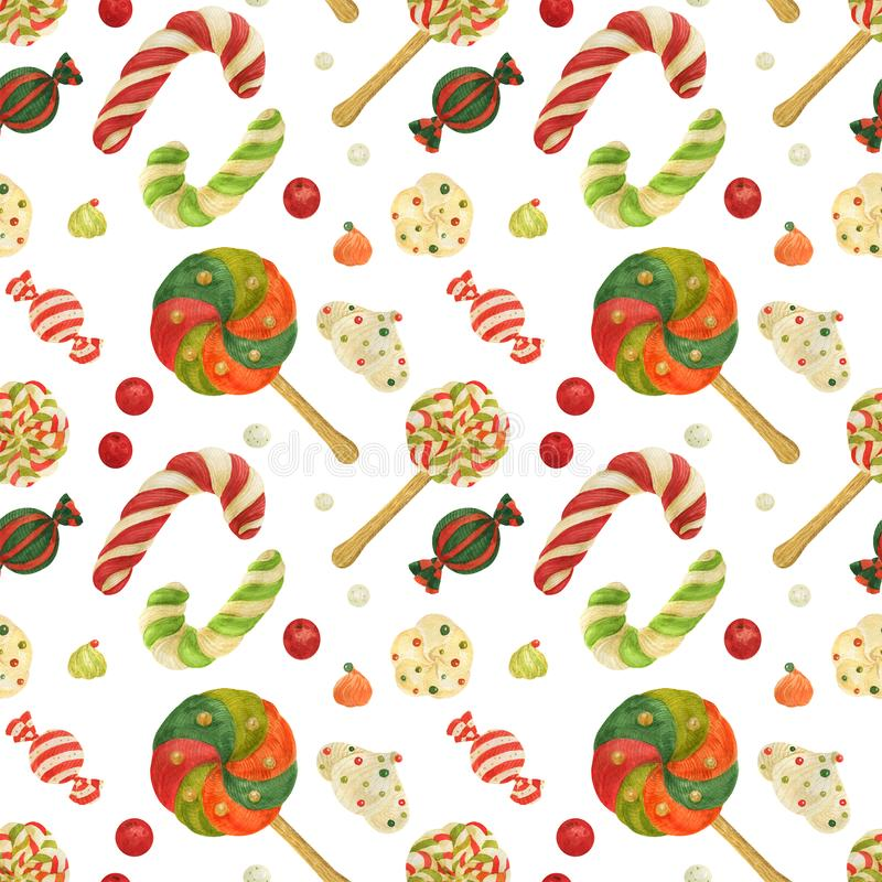 Christmas Elves Factory pattern with candy canes, lollipops, zefirs and candies royalty free illustration