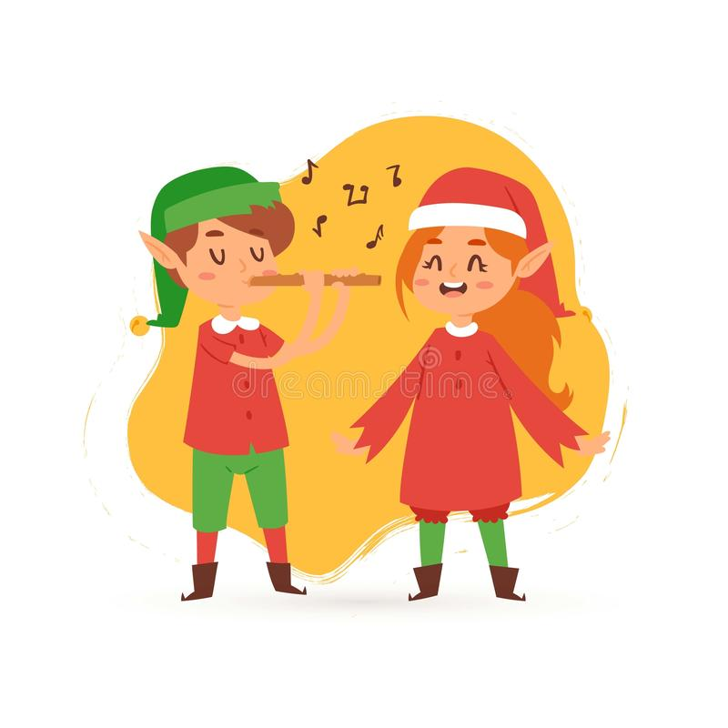 Christmas elves kids singing caroling cartoon vector illustration. Boy and girl in elf costumes sing songs caroles and. Play flute. Merry christmas performance royalty free illustration