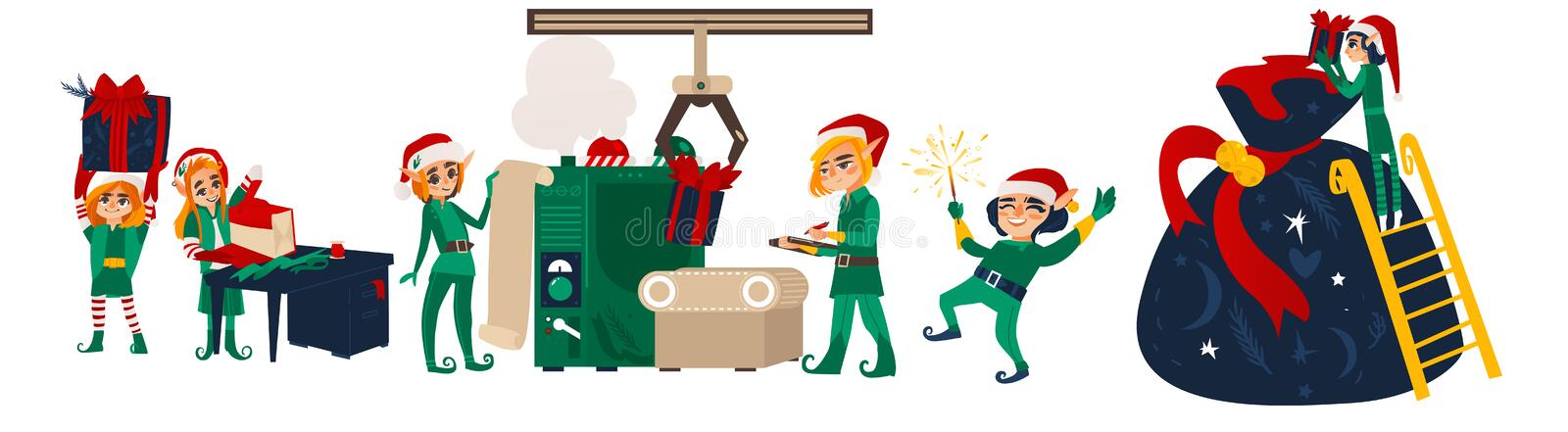 Christmas elves making presents in Santa workshop. Set of Christmas elves working, making presents in Santa workshop, flat cartoon vector illustration isolated royalty free illustration