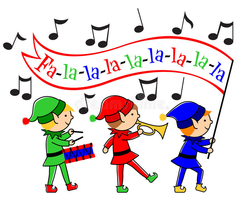 Christmas Elves Musical Parade/eps. Santa's colorful elves march with drum and bugle. Fa-la-la banner can be customized with your message vector illustration