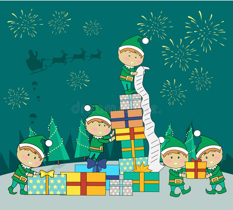 Christmas Elves Packing Presents Gift Boxes royalty free illustration