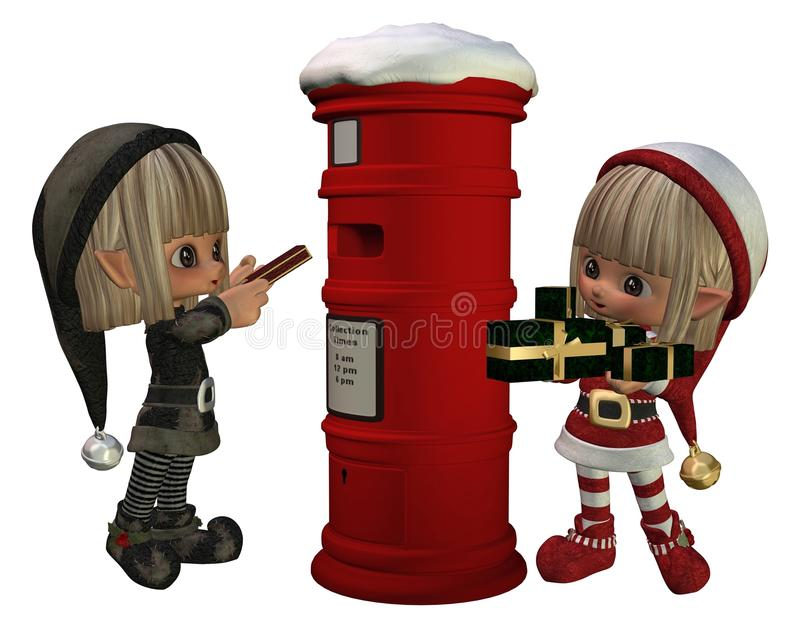 Christmas Elves - Posting Presents Royalty Free Stock Photography