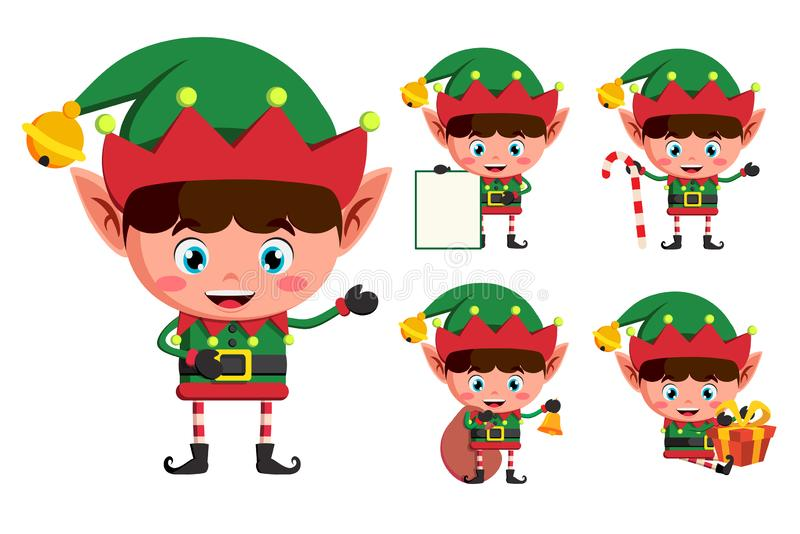 Christmas elves vector character set. Young boy elf cartoon characters. Holding christmas elements and objects isolated in white background. Vector illustration royalty free illustration