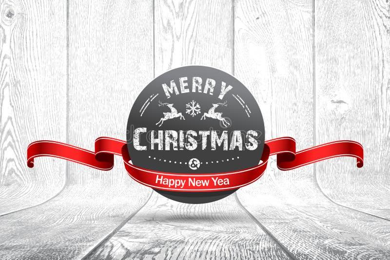 Christmas emblem on wooden texture royalty free illustration