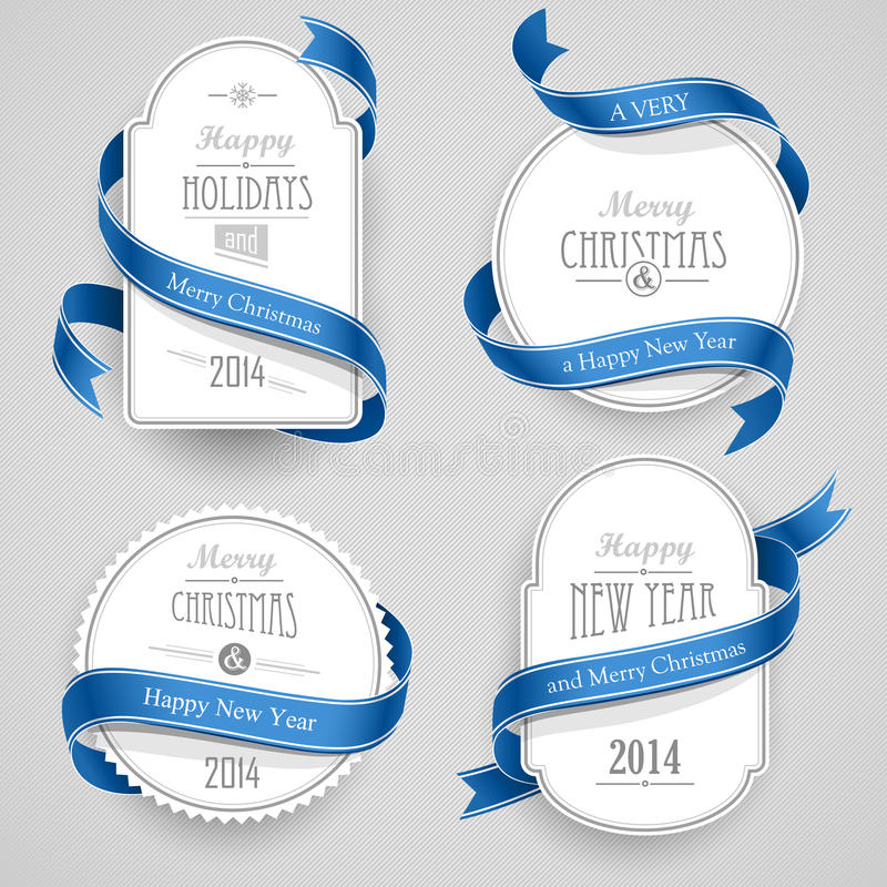 Christmas emblems. Collection of Christmas emblems with ribbons on a gray background