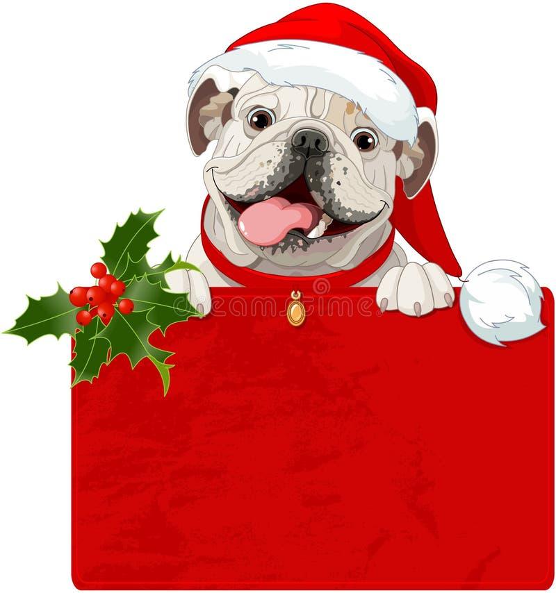 Christmas English bulldog. Illustration of Christmas English bulldog with red collar vector illustration
