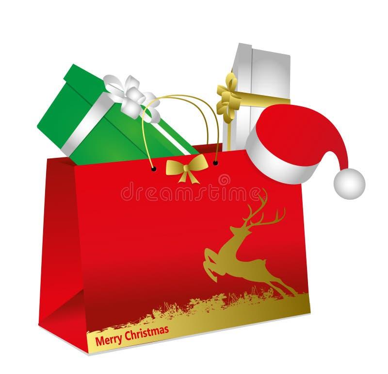 Christmas envelope with gift packs vector illustration
