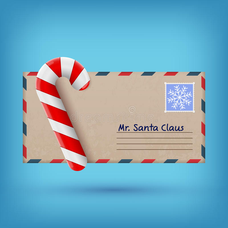 Christmas envelope and sweet candy royalty free illustration