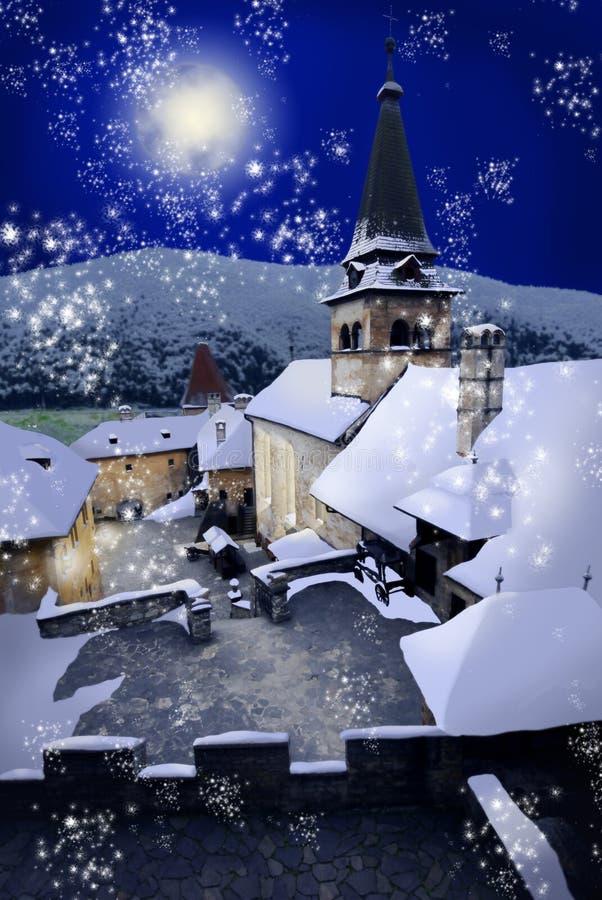 Christmas in Europe. Ancient European castle on winter night stock illustration