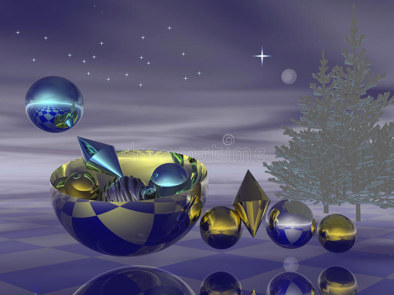 Christmas Eve. An unique 3d Christmas design / backdrop with a bowl filled with bright shining balls under a starry sky with X-mas trees vector illustration