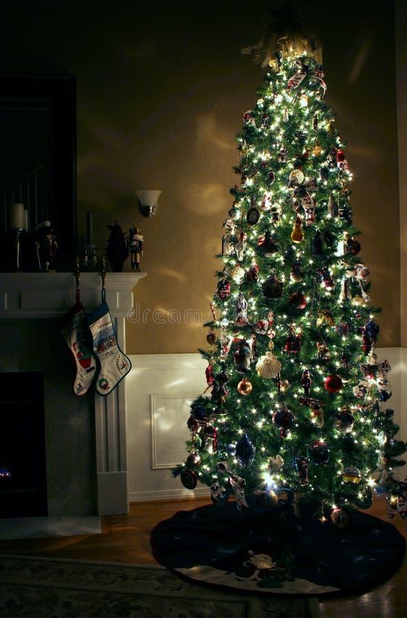 Christmas Eve. A Christmas tree all lit up for the holidays stock image