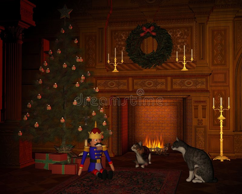 Download Christmas Eve Cats By The Fire Stock Illustration - Illustration of baubles, grate: 7252592