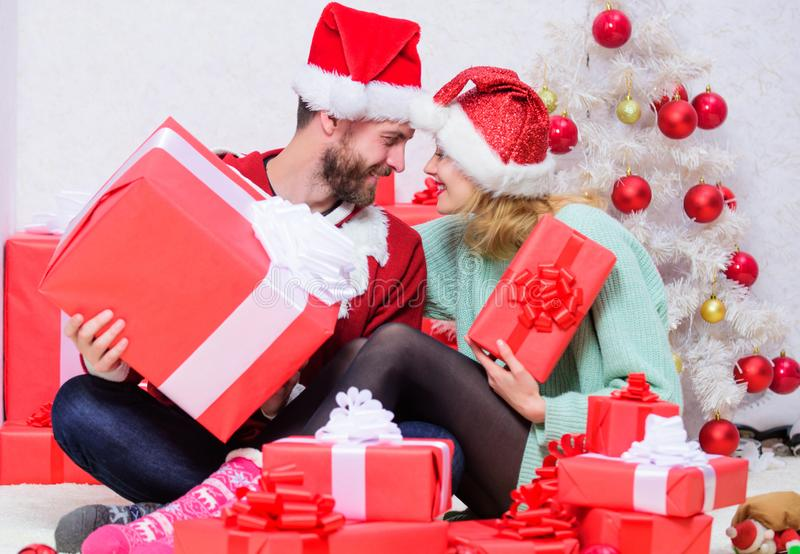 Christmas eve with darling. Family married couple at home. Love is best gift. Couple in love enjoy christmas holiday stock photography