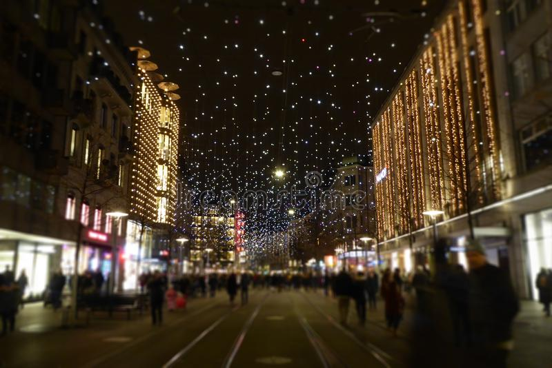 Christmas` Eve decoration at Zurich, Switzerland royalty free stock photos