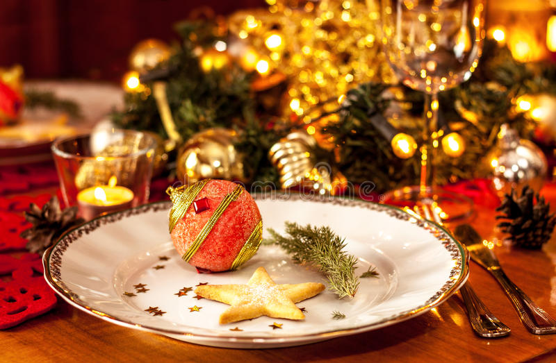Christmas Eve Dinner Party Table Setting With Decorations Stock ...