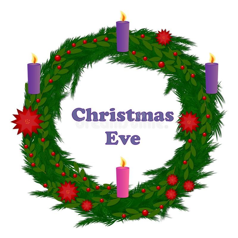 Christmas Eve festive Christmas wreath with candles vector royalty free illustration