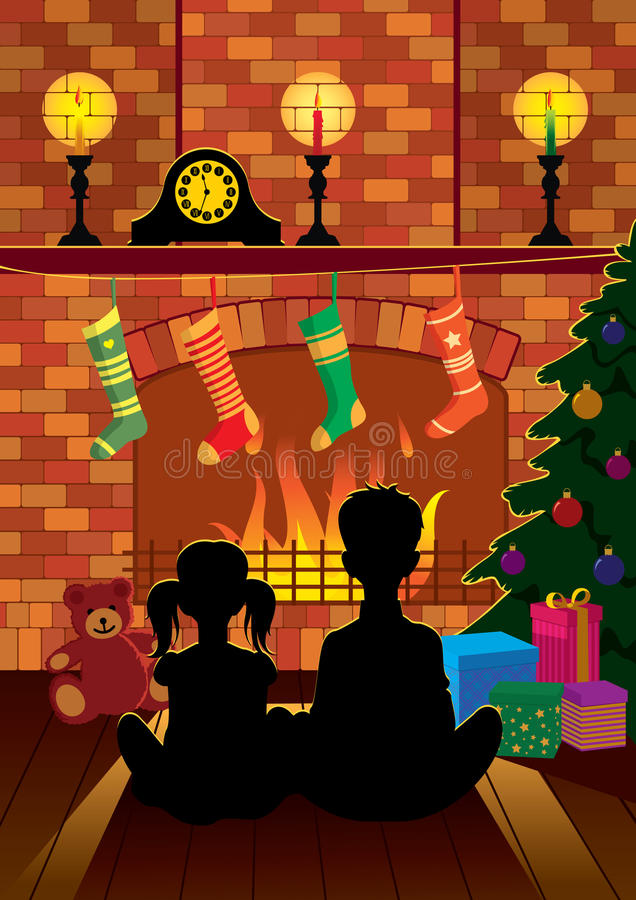 Christmas Eve by the fireplace vector illustration