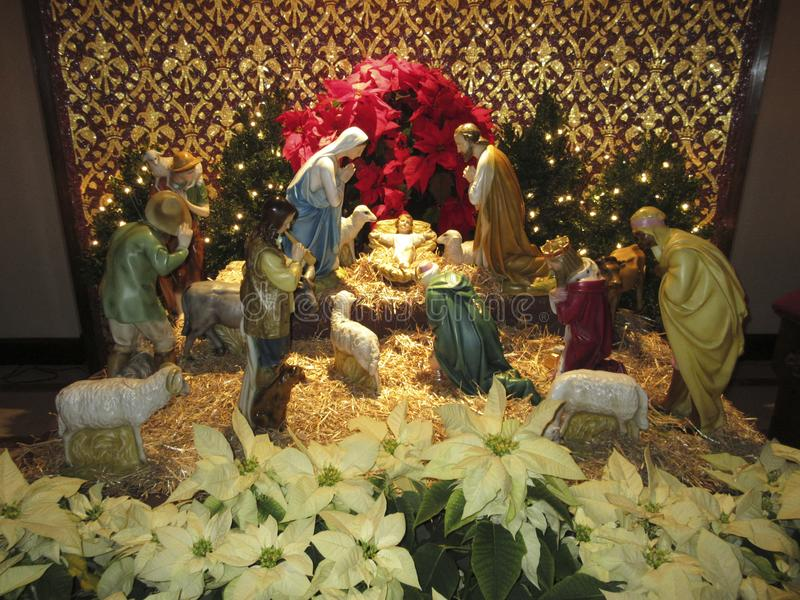 Christmas eve nativity display stock photography