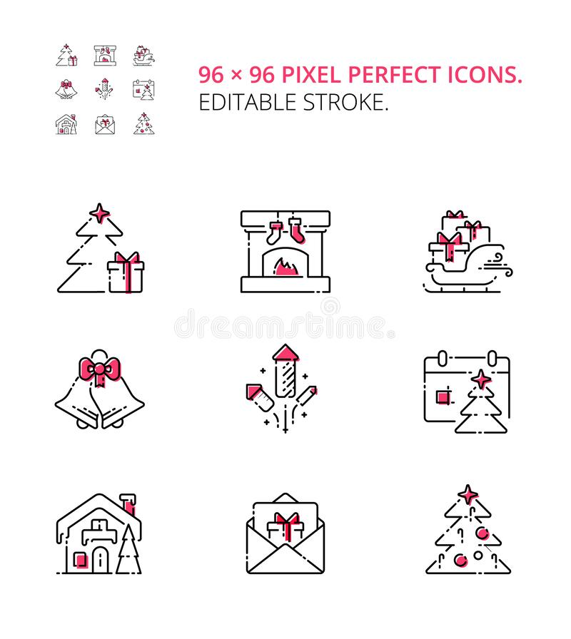 Christmas eve and New Year icon set. Modern vector thin line flat design icons and pictograms set. vector illustration