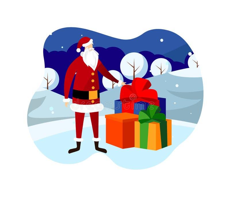 Christmas Eve Night. Santa Claus Bringing Presents stock illustration