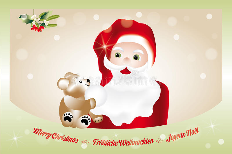 Christmas eve with Santa Claus. And teddy, card in English, German and French royalty free illustration