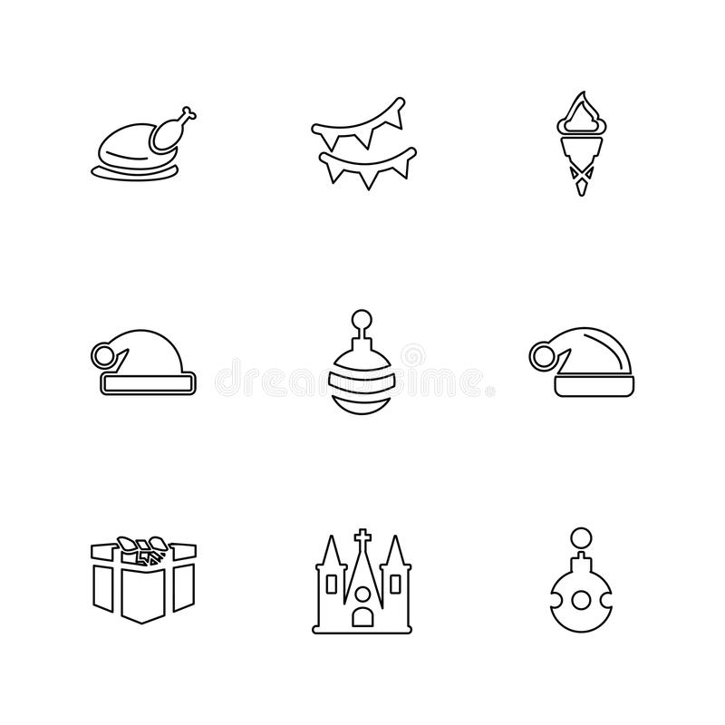 Christmas eve , snowflakes, tress , christmas , candies , eps icons set vector vector illustration