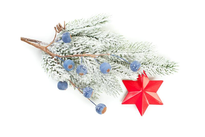 Christmas evergreen tree branch with red star decor isolated on white.  stock photo