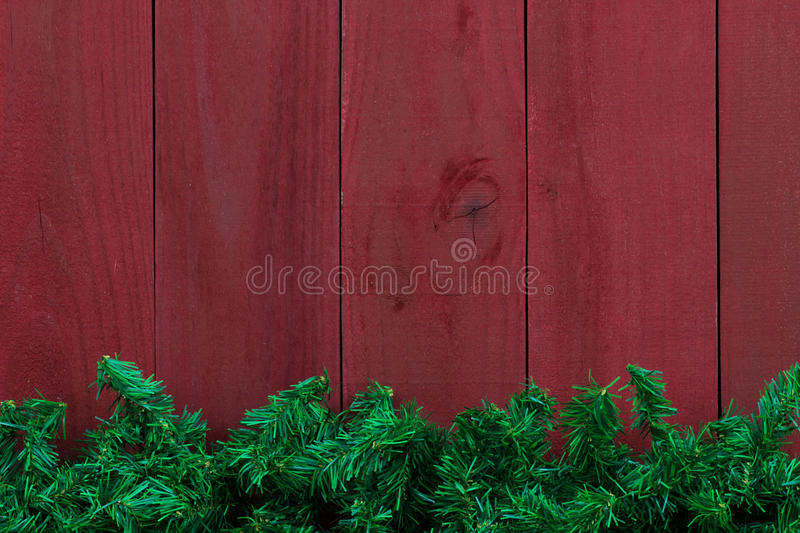 Christmas Evergreen Tree Garland Border With Antique Red